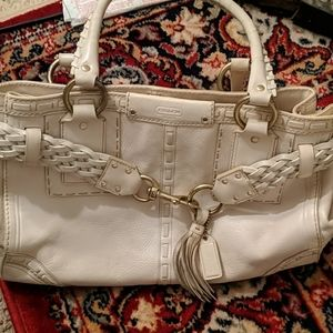 White leather vintage Coach bag in perfect conditi